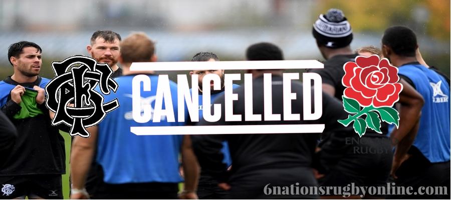 England vs Barbarians International Test Match Cancelled